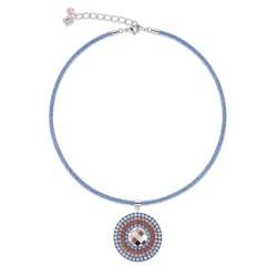 Coeur de Lion 4954/10-2003 Kette Amulett Swarovski® Kristalle Aqua Rot