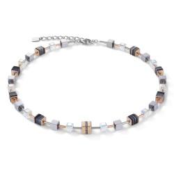 Coeur de Lion 4965/10-1630 Halskette GeoCUBE® Kristall Pavé Swarovski® Onyx Roségold Schwarz Edelstahl