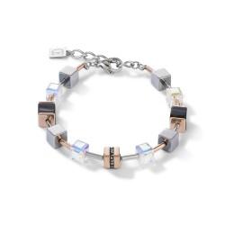 Coeur de Lion 4965/30-1630 Armband GeoCUBE® Swarovski® Kristalle Onyx Edelstahl Roségold