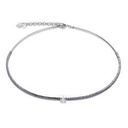 Coeur de Lion 4966/10-1700 Kette Edelstahl Pavé Hämatit Anthrazit Silber-Kristall