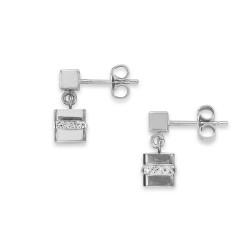Coeur de Lion 4967/21-1700 Ohrringe Cube Edelstahl Silber Kristall Pavé