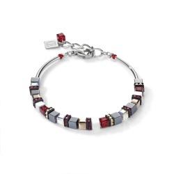 Coeur De Lion 4977/30-0300 Armband Damen GeoCUBE® Small Hämatit & Swarovski® Kristalle Rot Edelstahl