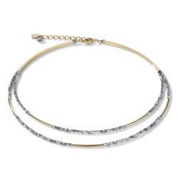 Coeur de Lion 4998/10-1617 Halskette Wasserfall Small Edelstahl Gold & Glas Silber