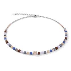 Coeur de Lion 5009/10-0740 Halskette GeoCUBE® Kristall Pavé Blau Braun Edelstahl Rosé
