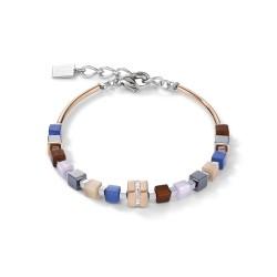 Coeur de Lion 5009/30-0740 Armband GeoCUBE® Kristall Pavé Blau Braun Edelstahl Rosé