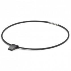 Monomania 50621 Halskette mit Anhänger Schwarz Silikonband Edelstahl 45 cm