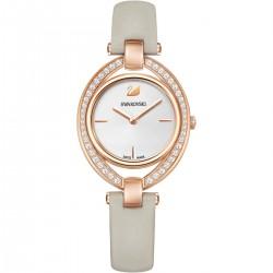 Swarovski 5376830 Damen-Uhr Stella Analog Quarz mit Leder-Armband Grau Rosé