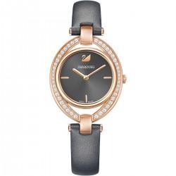 Swarovski 5376842 Damen-Uhr Stella Analog Quarz mit Leder-Armband Dunkelgrau Rosé