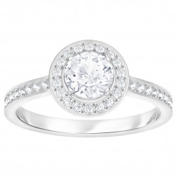 Swarovski Attract Light Round Ring Weiss Rhodiniert
