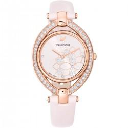 Swarovski 5452507 Damen-Uhr Stella Analog Quarz mit Leder-Armband Rosa Rosé