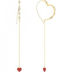 Swarovski 5455568 Ohrringe Ohrhänger Oxo Hoop Herz Rot Weiss Gold-Ton Vergoldet