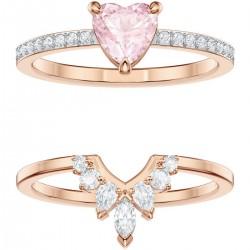 Swarovski Ring-Set Damen One Rosa Weiss Rosé Vergoldung