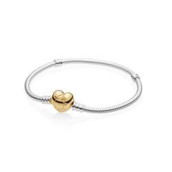 Pandora 560719 Armband Moments Gold Silver Shine Heart 18 cm