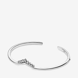 Pandora 598338CZ Armreif Damen Tiara Wishbone Offen Weiss Silber