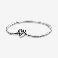 Pandora 598827C01 Schlangen-Gliederarmband mit Herz-Verschluss