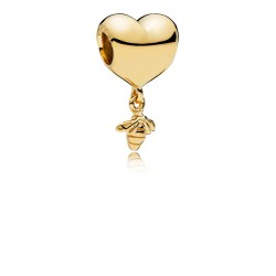 Pandora Shine 767022 Charm Heart & Bee Silber 18-K-Gold