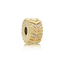 Pandora Shine 767798CZ Charm Clip Stylish Wish Gold Silber