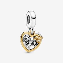 Pandora Shine 768838C01 Charm-Anhänger Herzen & Biene Silber