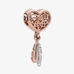 Pandora Rose 789068C00 Charm Offen Gearbeitetes Herz & Zwei Federn