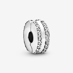 Pandora 798422C01 Charm Clip Zweireihiges Pavé Sterling-Silber