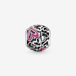 Pandora 798677C01 Charm Damen Rosafarbenes Freihand-Herz Silber