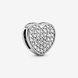 Pandora Reflektion 798684C01 Clip-Charm Pavé Herz Sterling-Silber
