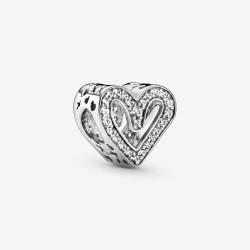 Pandora 798692C01 Charm Funkelndes Freihand-Herz Silber
