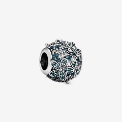 Pandora 798797C01 Charm Aquamarin Pavé Gänseblümchen Silber