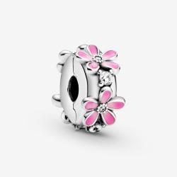Pandora 798809C01 Clip-Charm Rosafarbenes Gänseblümchen Silber