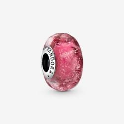 Pandora 798872C00 Charm Murano-Glass Wellenförmig Lachsfarben Silber