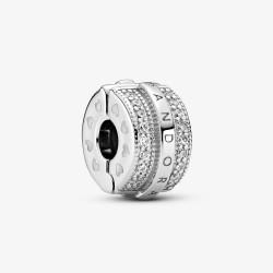 Pandora 799042C01 Clip-Charm Funkelnde Pavé-Reihen & Logo Silber