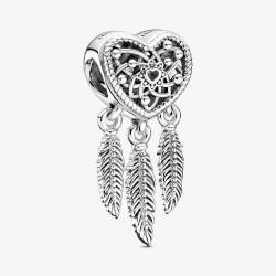 Pandora 799107C00 Charm Offen Herz & Drei Federn Traumfänger Silber