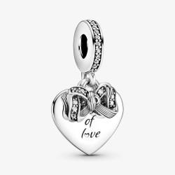 Pandora 799221C01 Charm-Anhänger Damen Schleife & Liebe Herz Silber