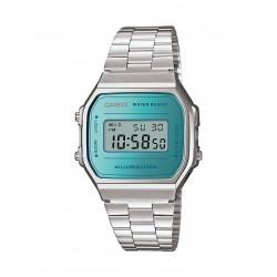 Casio A168WEM-2EF Unisex-Uhr Vintage Iconic Quarz Edelstahl-Armband