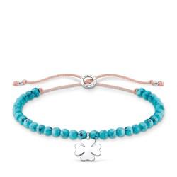 Thomas Sabo A1983-905-17 Armband Türkise Perlen mit Kleeblatt Silber