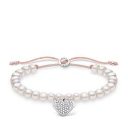 Thomas Sabo A1986-199-14 Armband Weiße Perlen mit Herz Pavé Silber