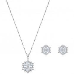 Swarovski 5506235 Set Halskette mit Anhänger Ohrstecker Magic Snowflake Weiss Silber-Ton