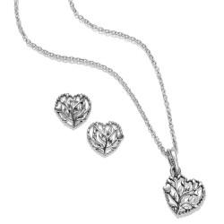 Pandora Set B800875 Kette Anhänger Ohrringe Flourishing Hearts Muttertag