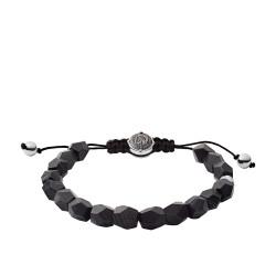 Diesel DX1134040 Armband Herren Beads Achat Schwarz Silber-Ton