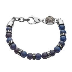 Diesel DX1165040 Armband Herren Beads African Blue Stone Sodalit Edelstahl