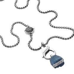 Diesel DX1178040 Kette mit Anhänger Herren Singel Pendant Sodalite Blau Silber-Ton