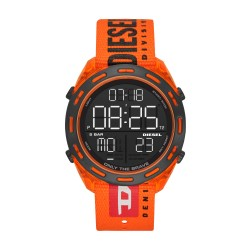 Diesel DZ1896 Herrenuhr Crusher Digital Quarz mit Nylon-Band Ø 46 mm