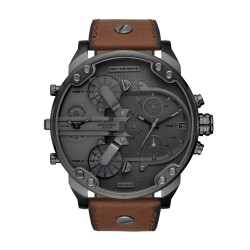 Diesel DZ7413 Herrenuhr Mr. Daddy 2.0 Multifunktion Quarz mit Leder-Band Ø 57 mm