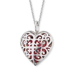 Engelsurfer ERN-05-HEART-S Kette mit Anhänger Herz Rot Silber