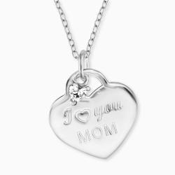 Engelsrufer ERN-LOVEMOM-ZI Halskette mit Anhänger I Love You Mom Silber