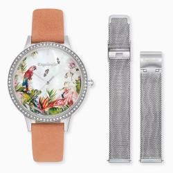 Engelsrufer ERWO-PARADISE-01 Damen-Uhr Set Silber Quarz Leder Mesh-Armband