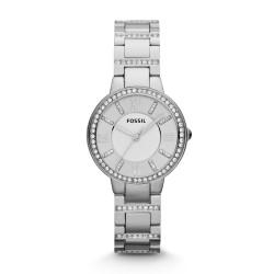 Fossil ES3282 Damenuhr Virginia Edelstahl Silber-Ton Ø 30 mm