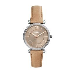 Fossil ES4343 Damen-Uhr Carlie Analog Quarz mit Leder-Armband Sand Ø 35 mm