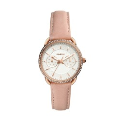 Fossil ES4393 Damen-Uhr Tailor Multifunktion Leder Rosé Ø 35 mm