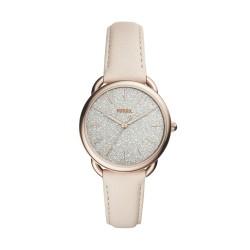Fossil ES4421 Damen-Uhr Tailor Leder Rosé-Ton 3-Zeiger Ø 35 mm